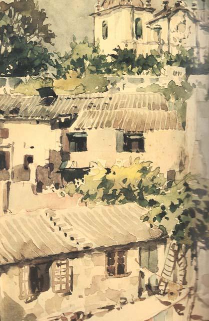 Aquarela/aguarela de Georges Smirnoff de 1945. Coleção do Museu de Arte de Macau