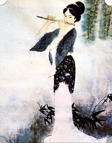 """Ho Tzu, """"A flauta de jade"""". Pintura para o poema de Libai"""