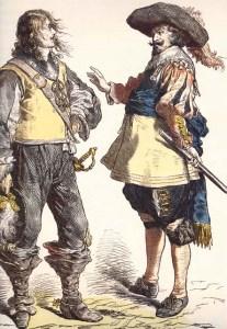 Oficiais portugueses do século XVII. Imagem do livro 400 Anos de Organização e Uniformes Militares de Macau.
