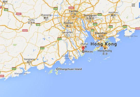 Localização da ilha de Sanchoão em relação a Macau. Extraído do Google Maps