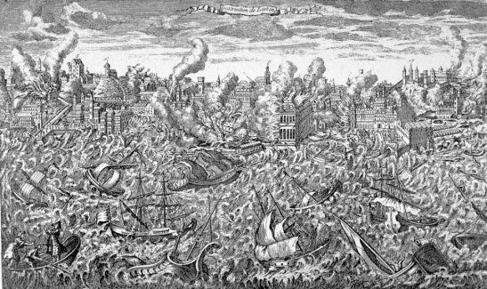 Gravura em cobre de 1755 mostrando Lisboa em chamas e o tsunami varrendo o porto. (Wikimedia Commons)