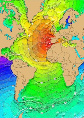 Localização potencial do epicentro do terramoto de 1755 e tempos de chegada do tsunami, em horas após o sismo (Wikimedia Commons)