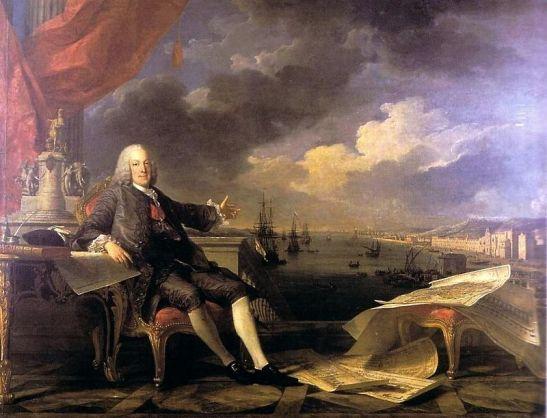 """Marquês de Pombal"" e a cidade de Lisboa, de Louis-Michel van Loo (1707-1771) e Claude-Joseph Vernet (1714-1789), Museu da Cidade, Lisboa (Wikimedia Commons)"