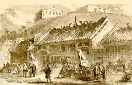 1830年文武廟前 templo Hollywood Road