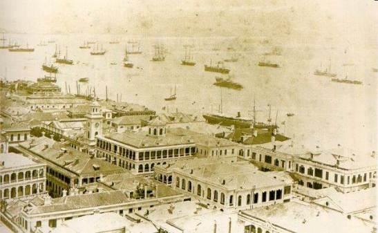 1885年岸邊的建設和海港環境Constructions at Victoria harbour /edificações no porto Victoria