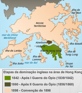 Hong Kong antigo mapa