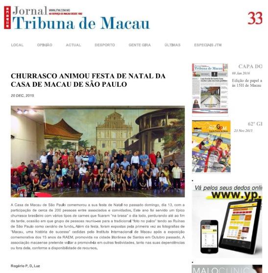 Jornal Tribuna de Macau artigo festa Natal 2015 da Casa de Macau S.Paulo