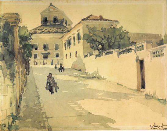 Travessa do Paiva em gravura de George Smirnoff. A casa de Arriaga no lado direito.
