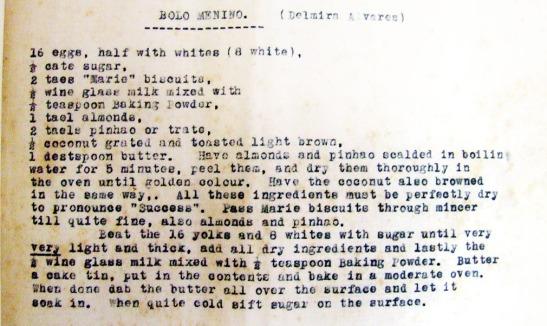 Gastronomia receita bolo menino de Guilly Figueiredo Canavarro Shanghai 1934