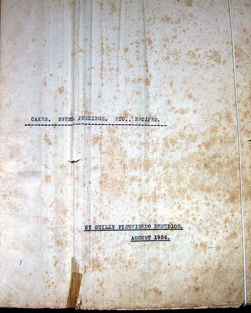 Gastronomia receitas inicio do livro de Guilly Figueiredo Canavarro Shanghai 1934