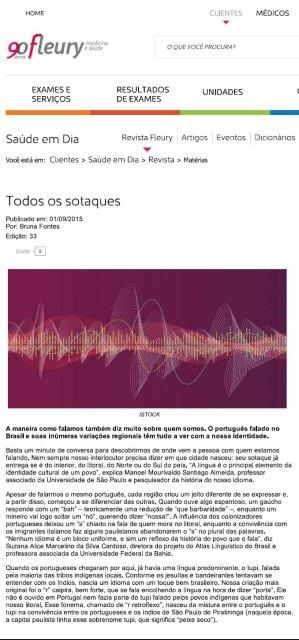 Revista Fleury Todos os Sotaques do Portugues no Brasil . Identidade Cultural 01