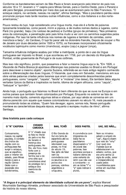 Revista Fleury Todos os Sotaques do Portugues no Brasil . Identidade Cultural 02