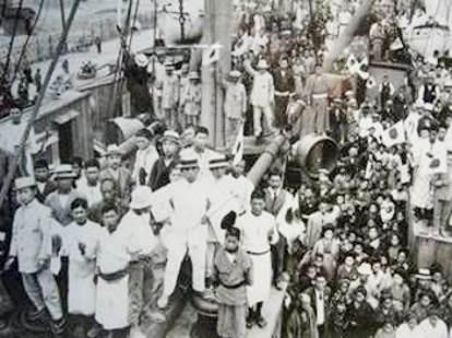 Os primeiros imigrantes japoneses no navio