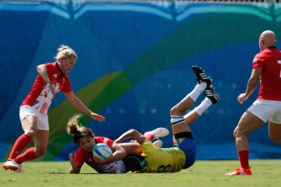Rio de Janeiro - Brasil é derrotado por 29 a 3 pela Grã-Bretanha na estréia do rugbyfeminino nos Jogos Olímpicos Rio 2016, no Estádio de Deodoro. Foto: Fernando Frazão/Agência Brasil/Fotos Públicas