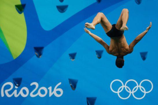 Rio de Janeiro - Dupla brasileira Ian Matos e Luiz Felipe Outerelo fica em 8º no trampolim de 3 metros sincronizado dos saltos ornamentais nos Jogos Rio 2016 no Parque Aquático Maria Lenk (Fernando Frazão/Agência Brasil)