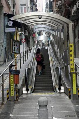 As escadas rolantes da Rua da Surpresa, que entraram em funcionamente no dia 1 de Agosto de 2016, as quais sobem até próximo dos elevadores que dão acesso ao Centro Hospitalar Conde de S. Januário, como é actualmente designado. Foto M.V. Basílio